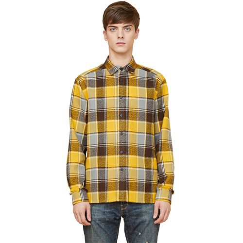 fringe heavy check shirts - yellow