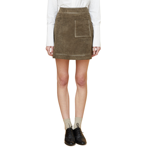 embroidered suede skirt - khaki