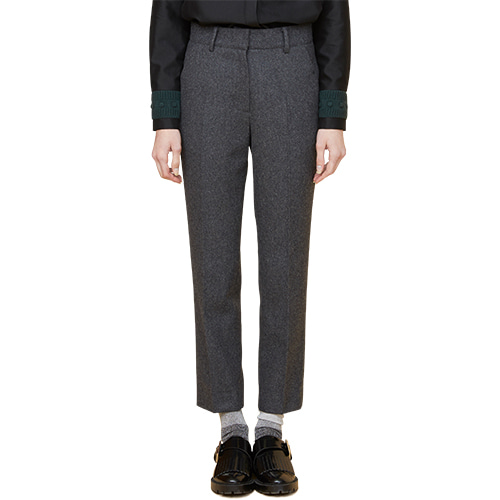 initials patch wool pants - gray