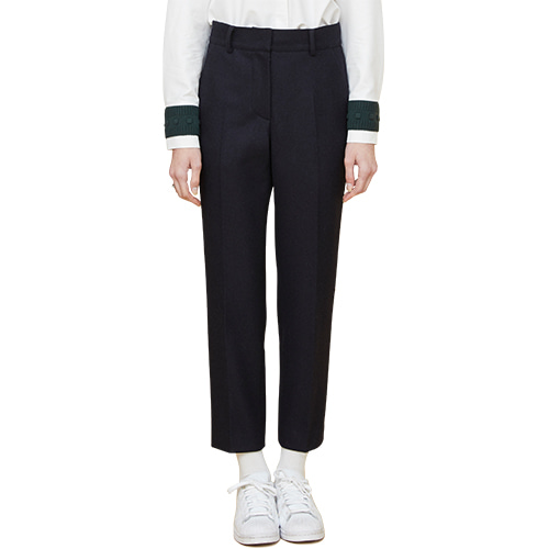 initials patch wool pants - navy