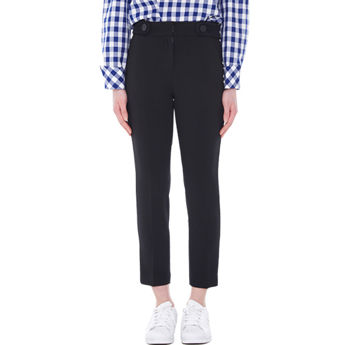 belted slim pants - black