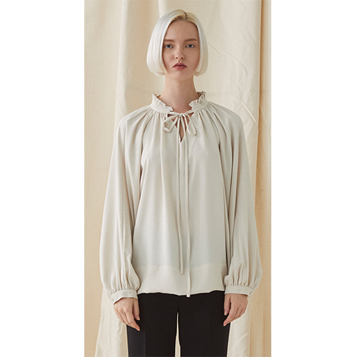 Neck Frill Blouse - beige