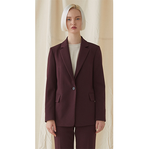 One Button Basic Jacket - wine