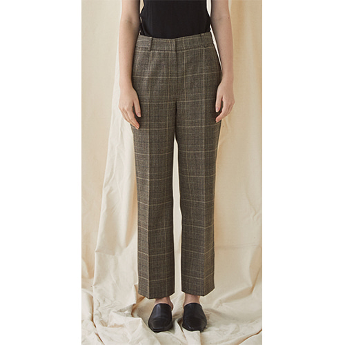 Check Slim Trousers - brown