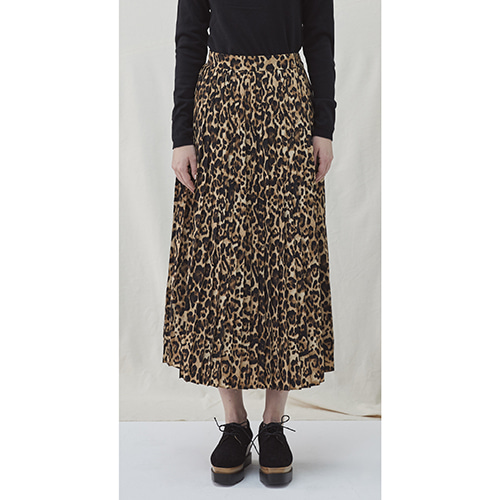 Leopard Pleat Skirt - light brown