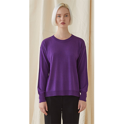 Simple Round Neck Knit  - purple