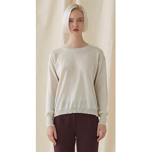 Simple Round Neck Knit  - beige