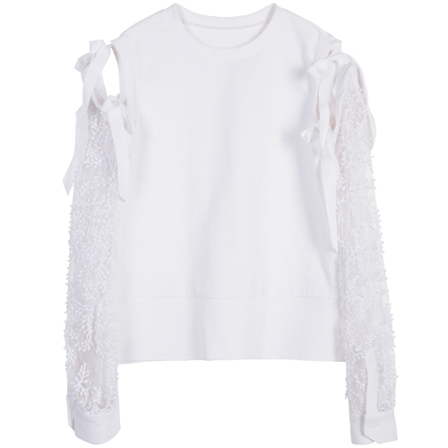 Bell Laced Pullover - white