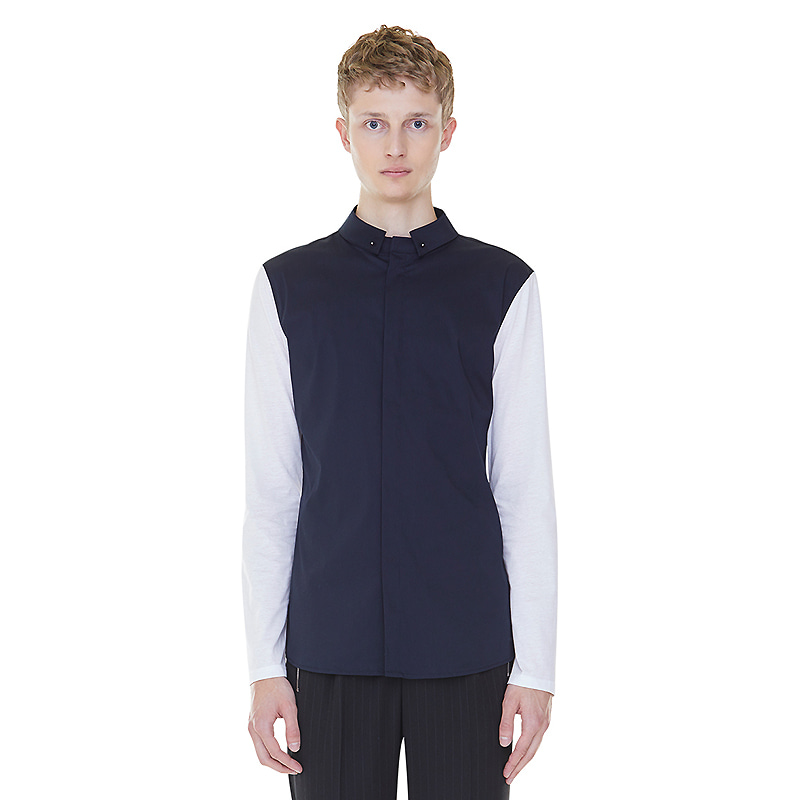 detachable collar shirts - navy