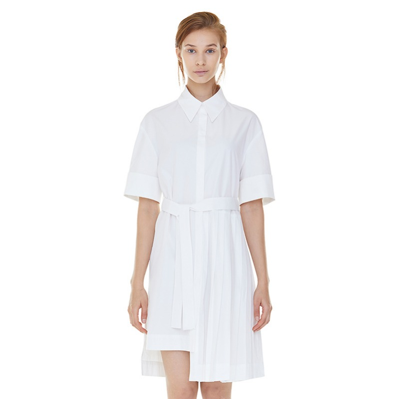 partial pleats shirts dress - white