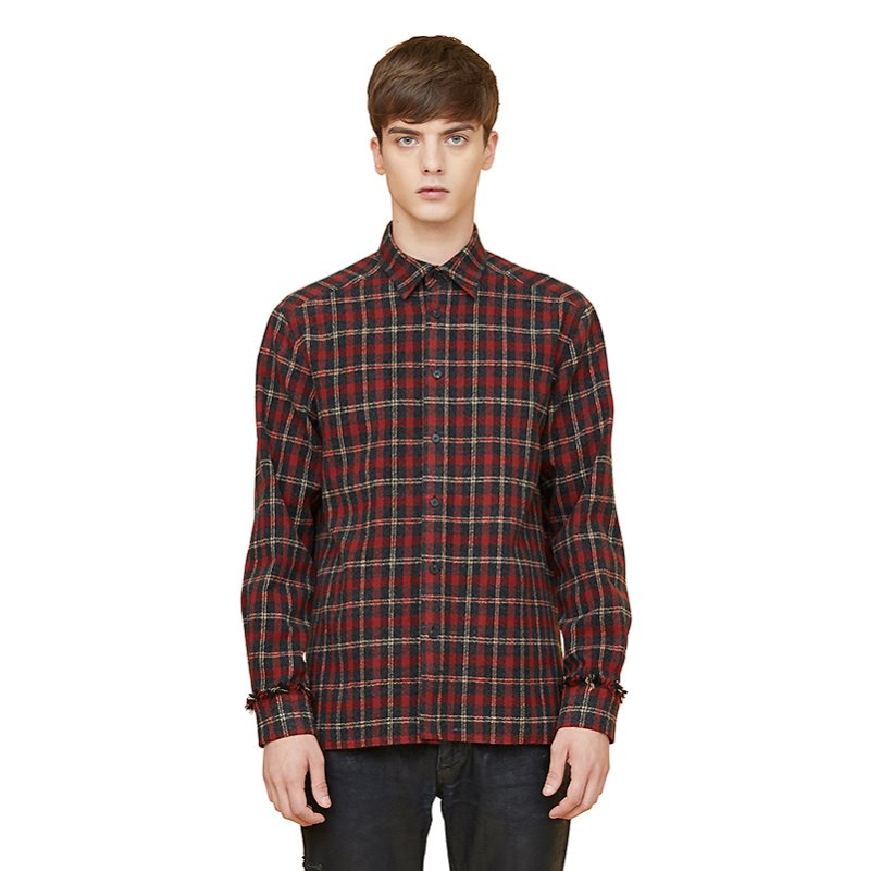 fringe heavy check shirts - red
