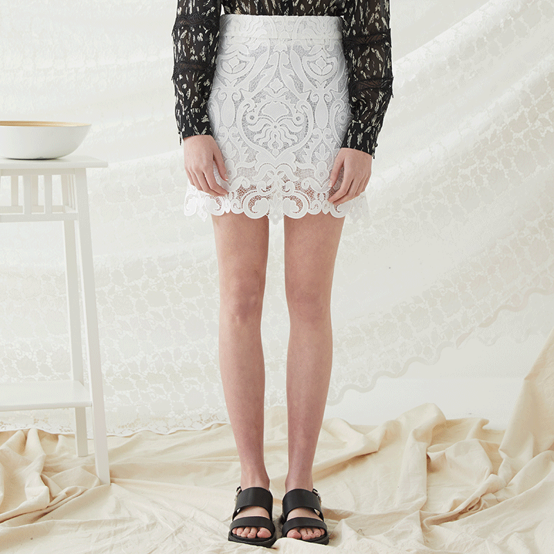Lace Mini Skirt - White