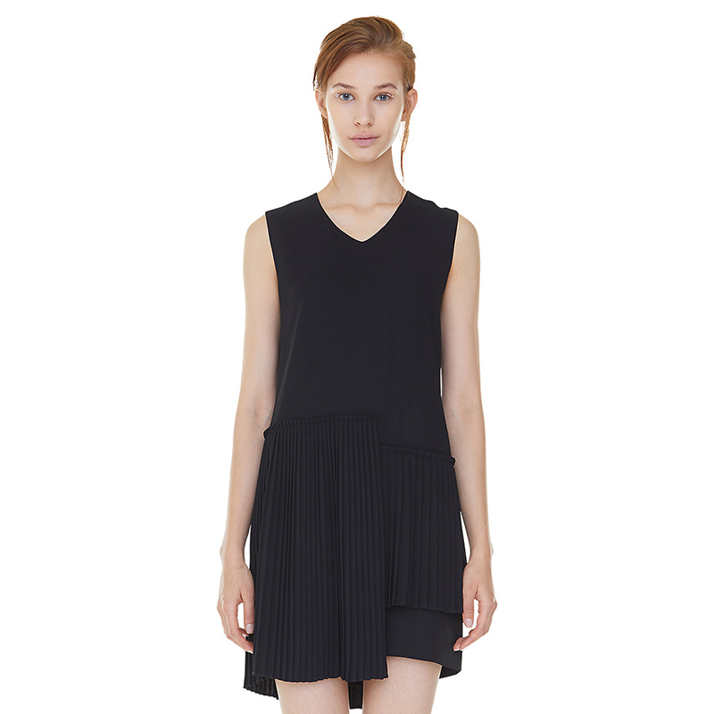 unbalance pleats dress - black