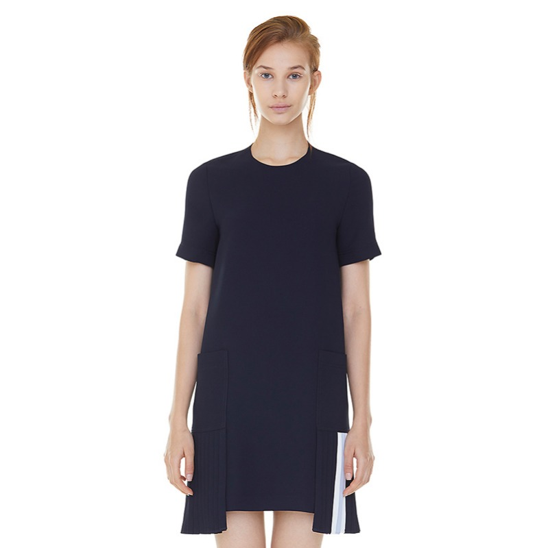 double pocket godet pleats dress - navy