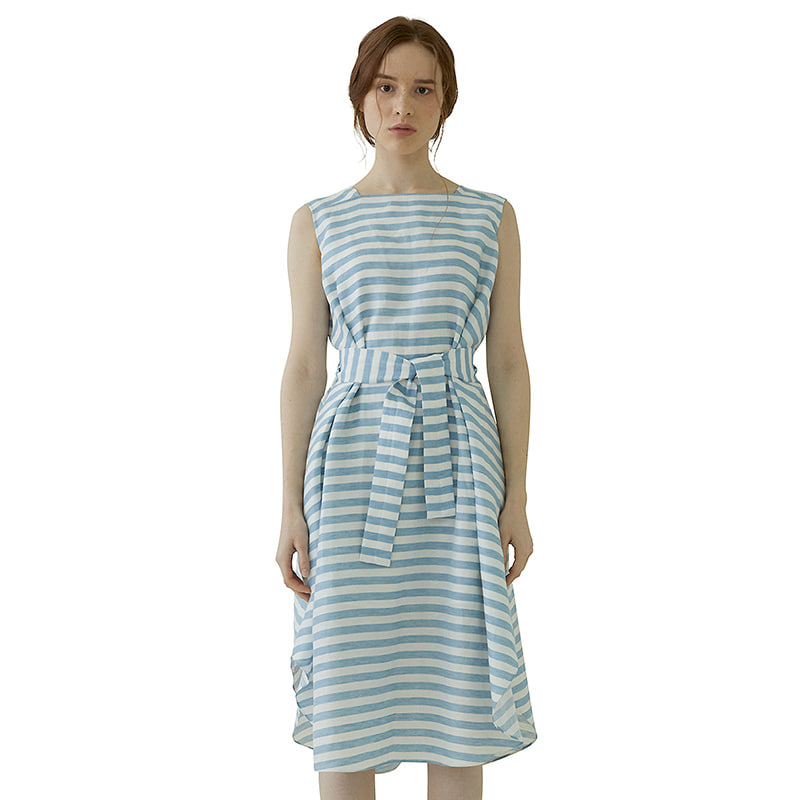 Striped Draped Dress - blue