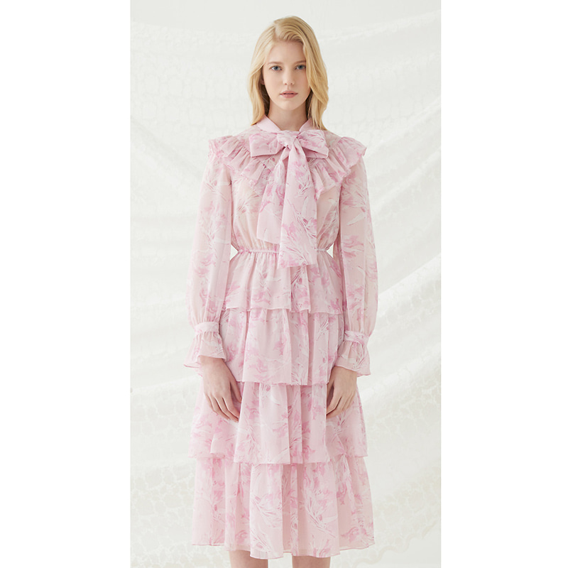 Floral Scarf Tie Dress - Pink