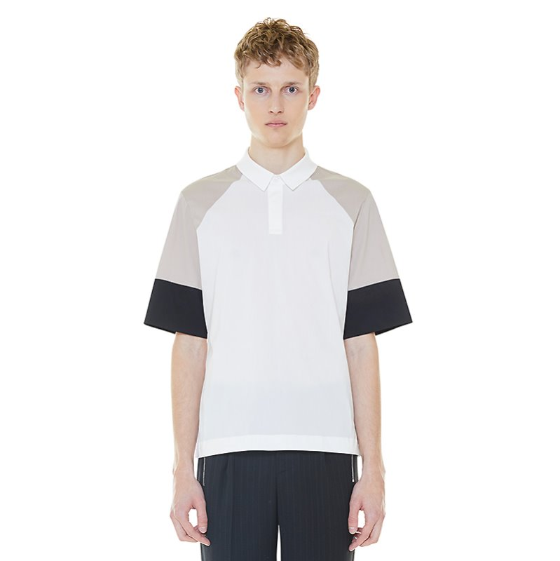 color blocking polo shirt - beige