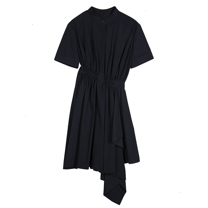 Draped Shirts Dress - navy