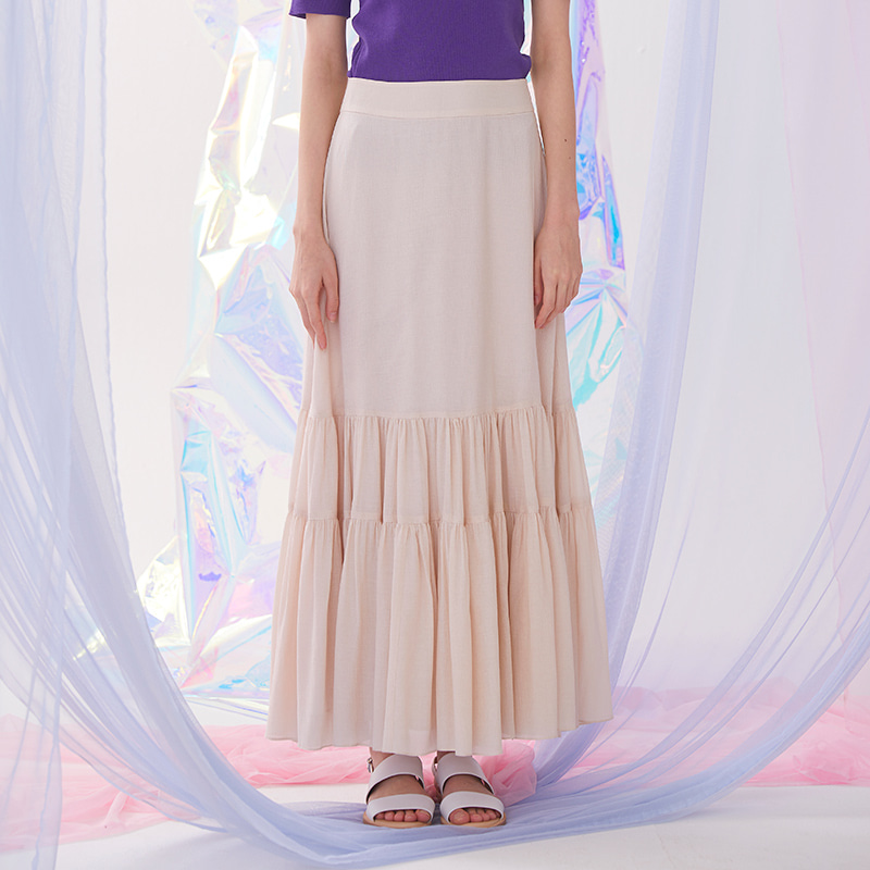 Bohemian Shirring Long Skirt - Beige