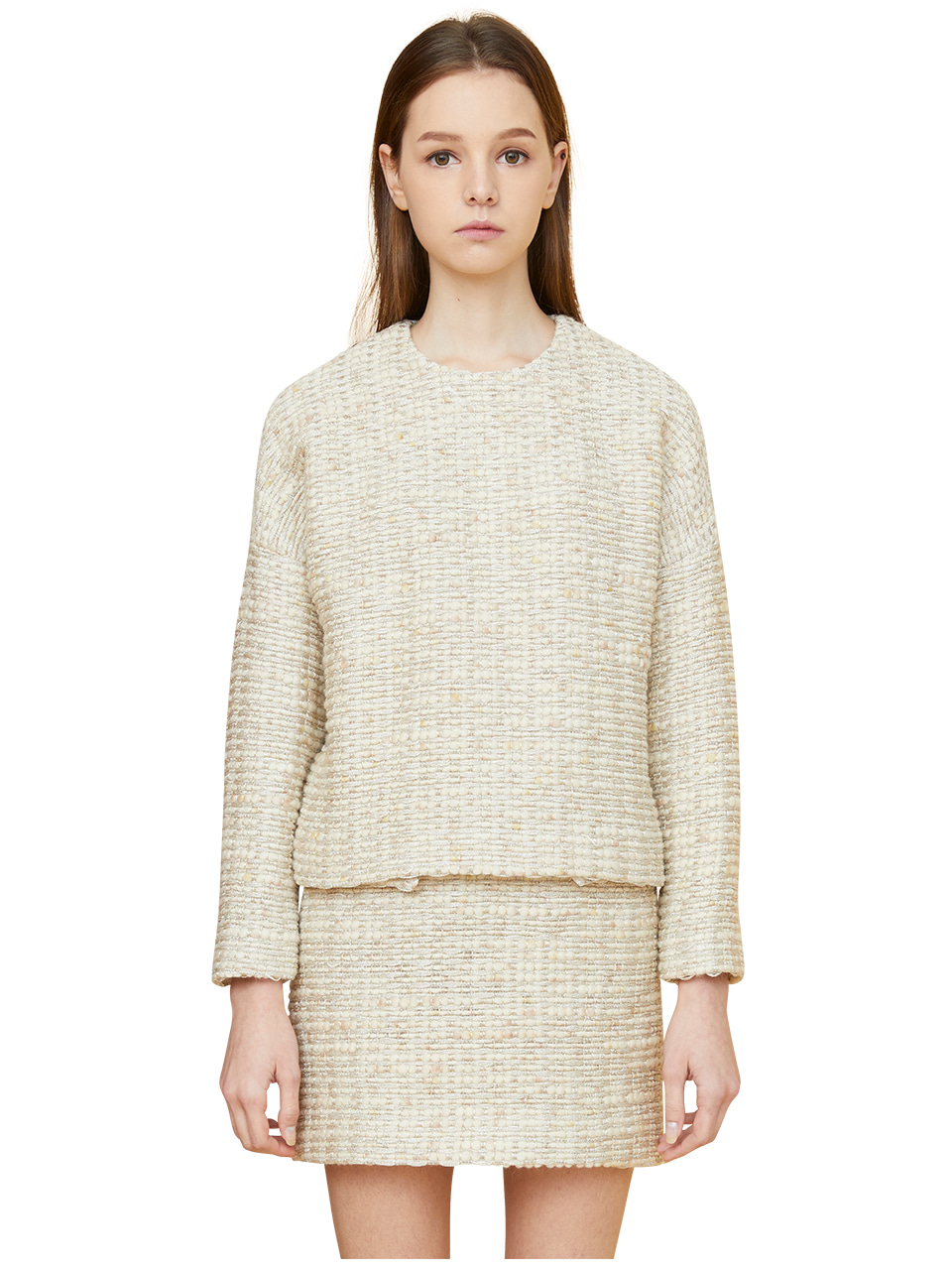 comma tweed pullover - cream