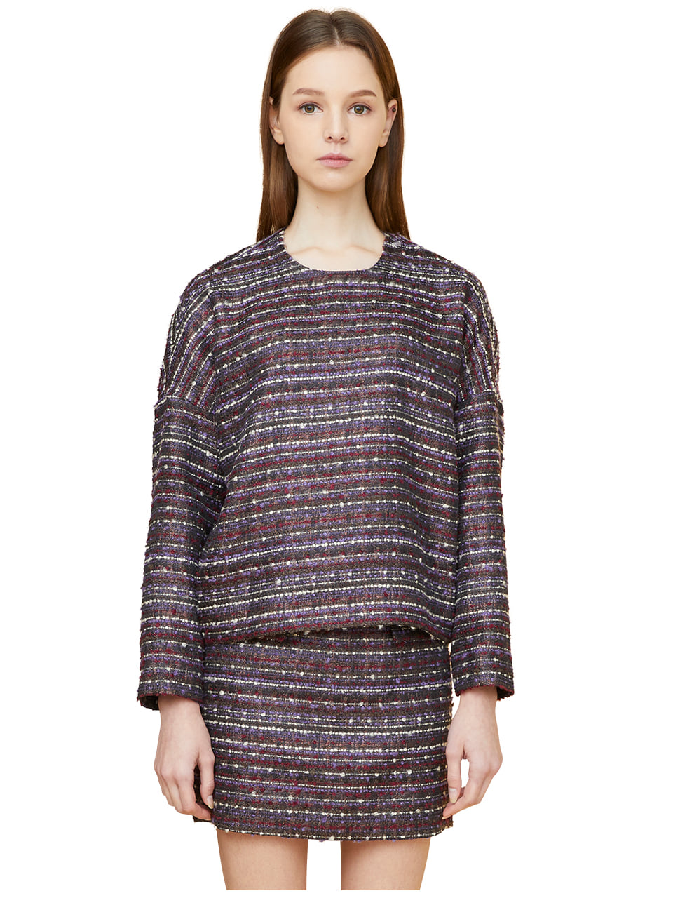 comma tweed pullover - purple
