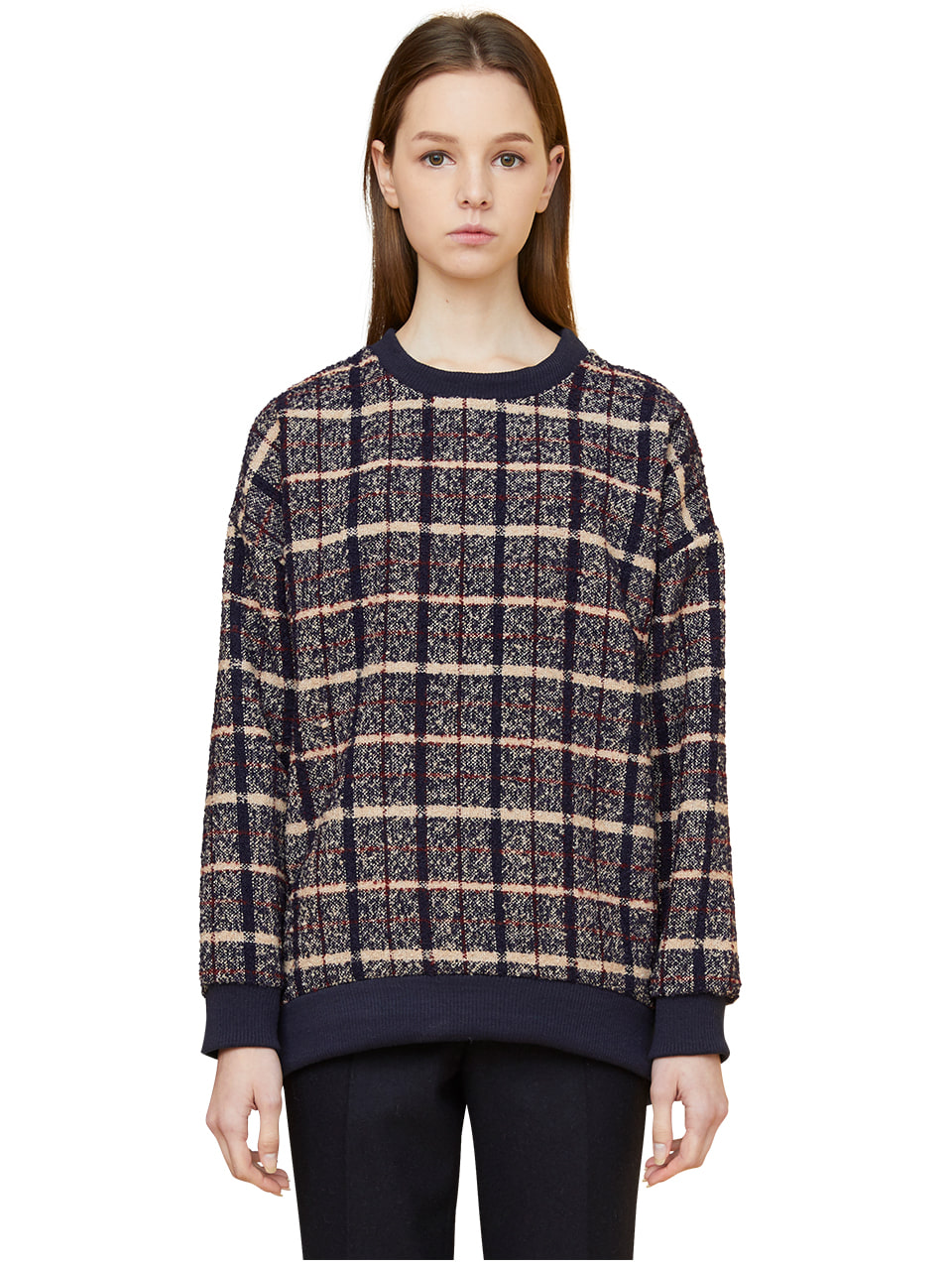 oversized plaid sweatshirts - beige