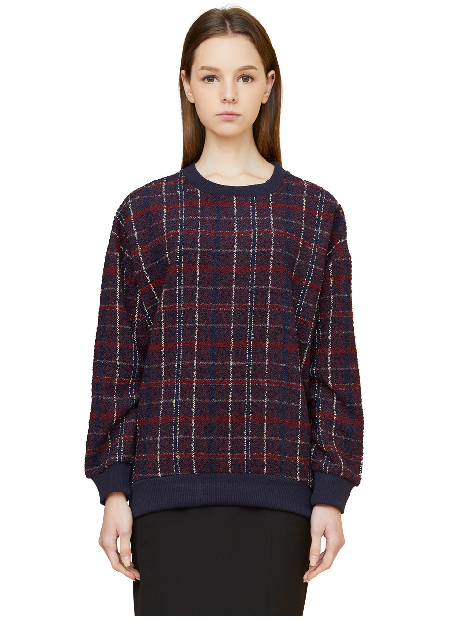 oversized plaid sweatshirts - red