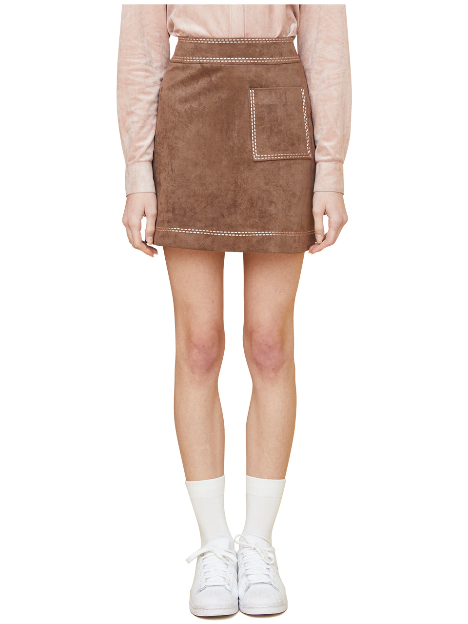 embroidered suede skirt - brown