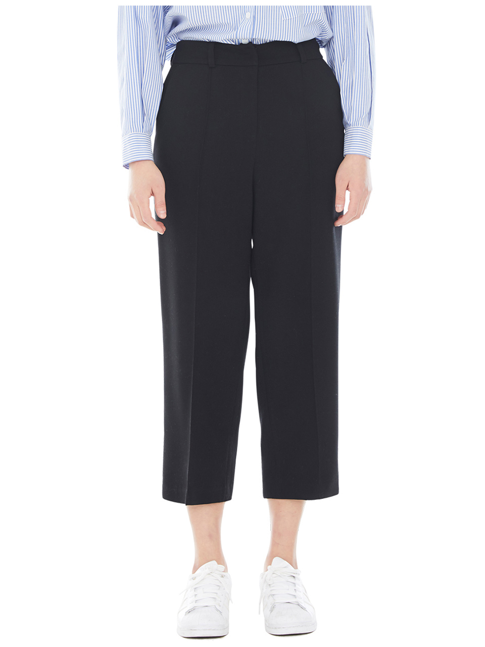 wide leg pin tuck trouser - black