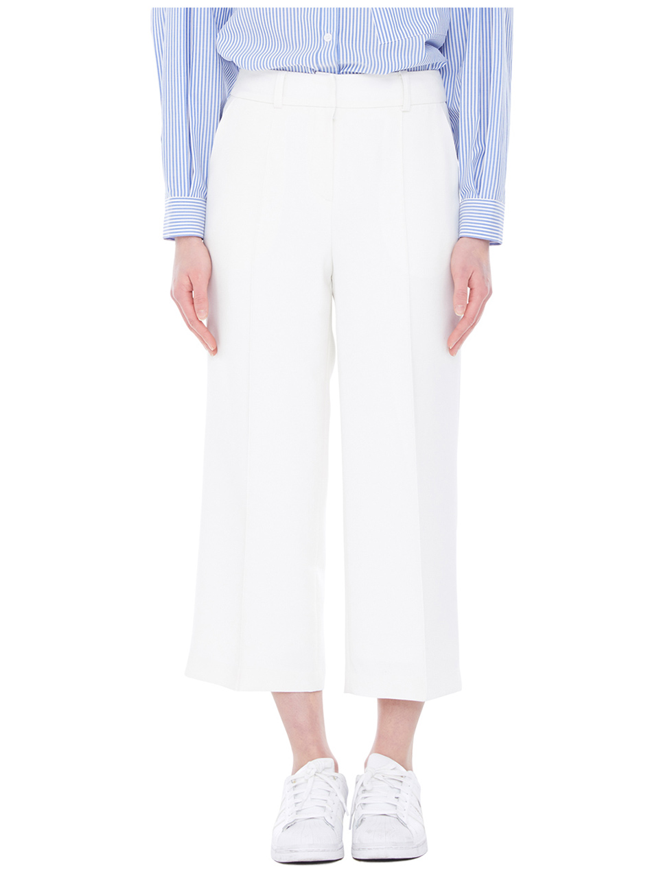 wide leg pin tuck trouser - ivory