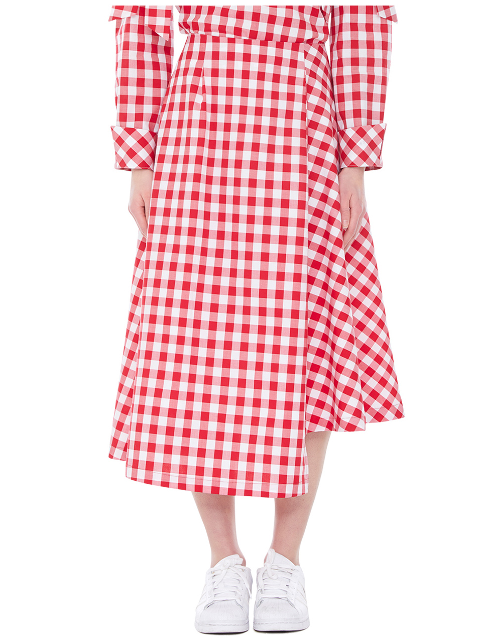 unbalanced gingham skirts - red