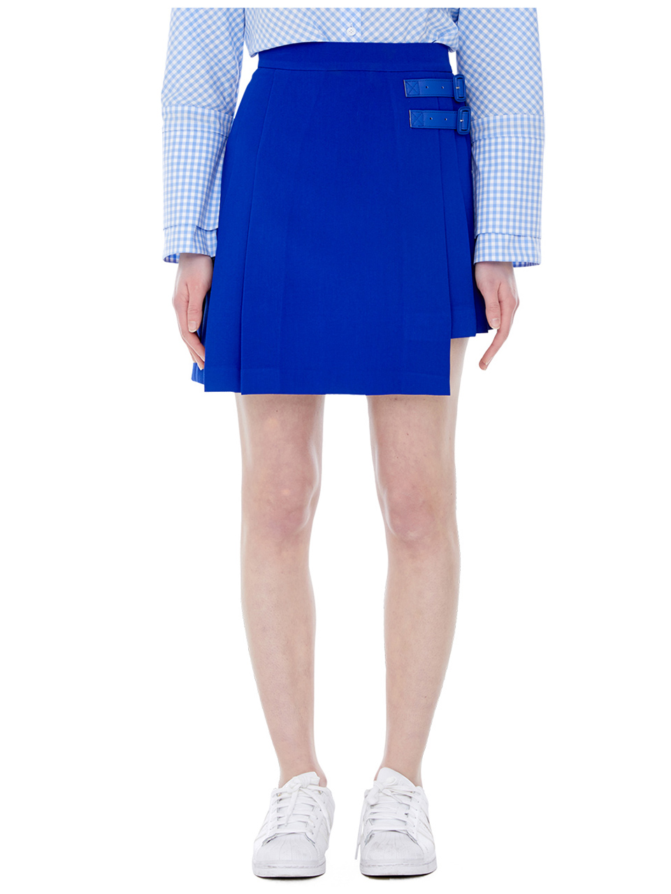 double belt miniskirt - blue