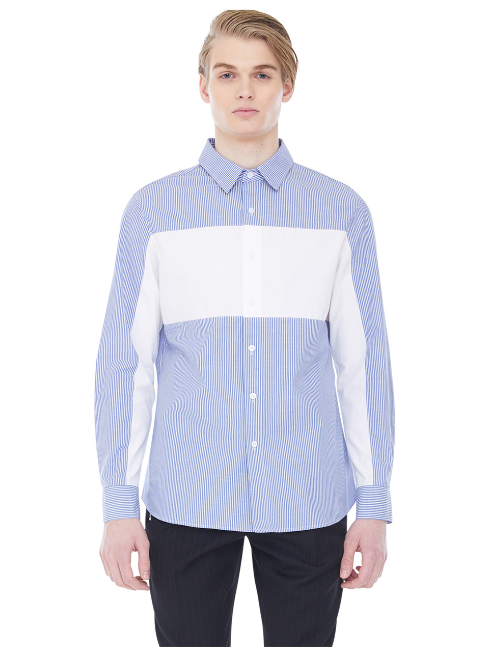 striped whiteblock shirt - blue