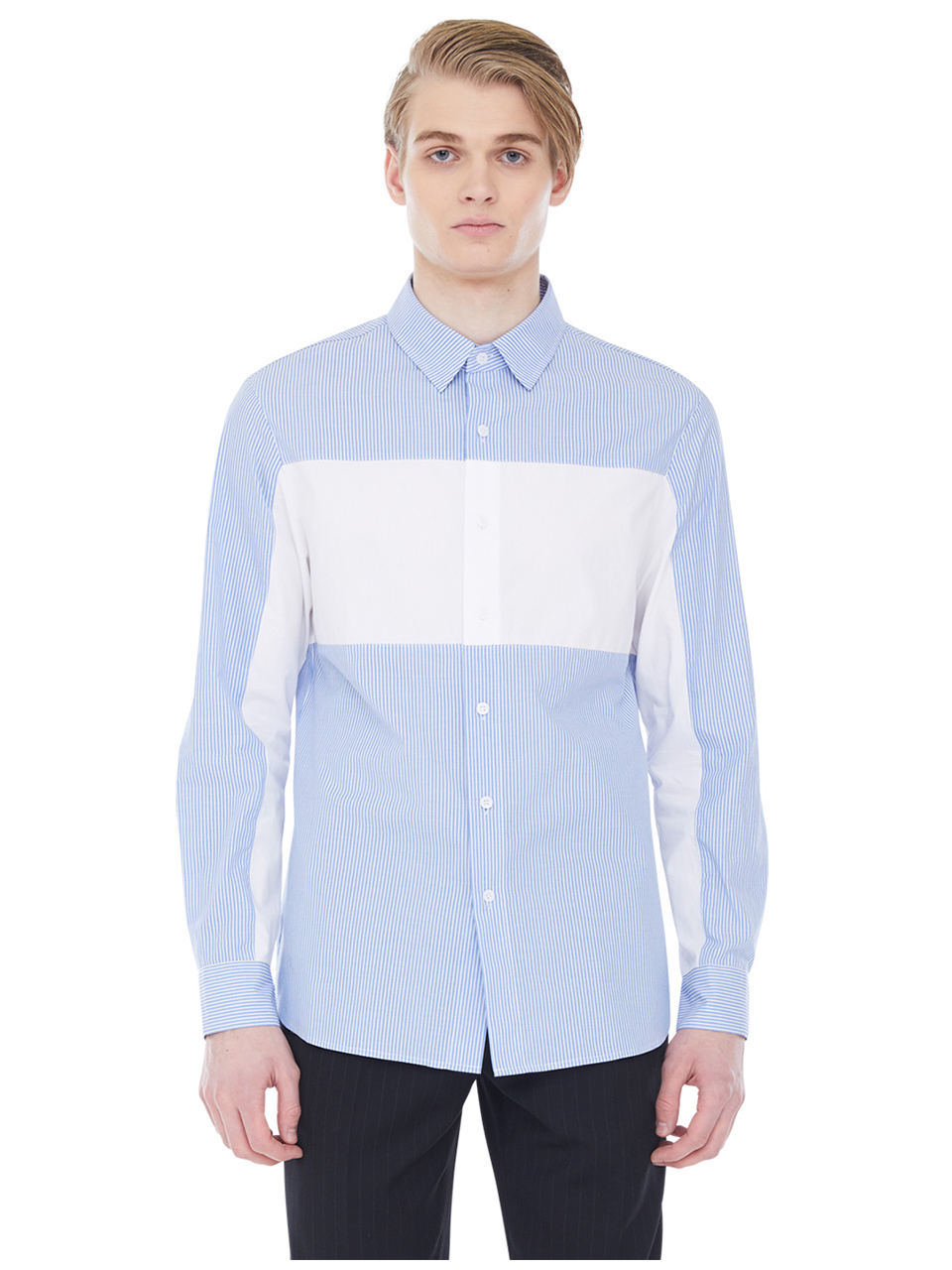 striped whiteblock shirt - light blue
