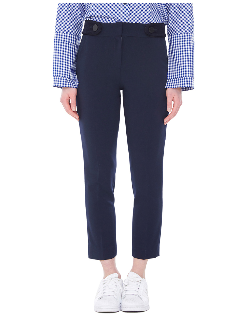 belted slim pants - navy