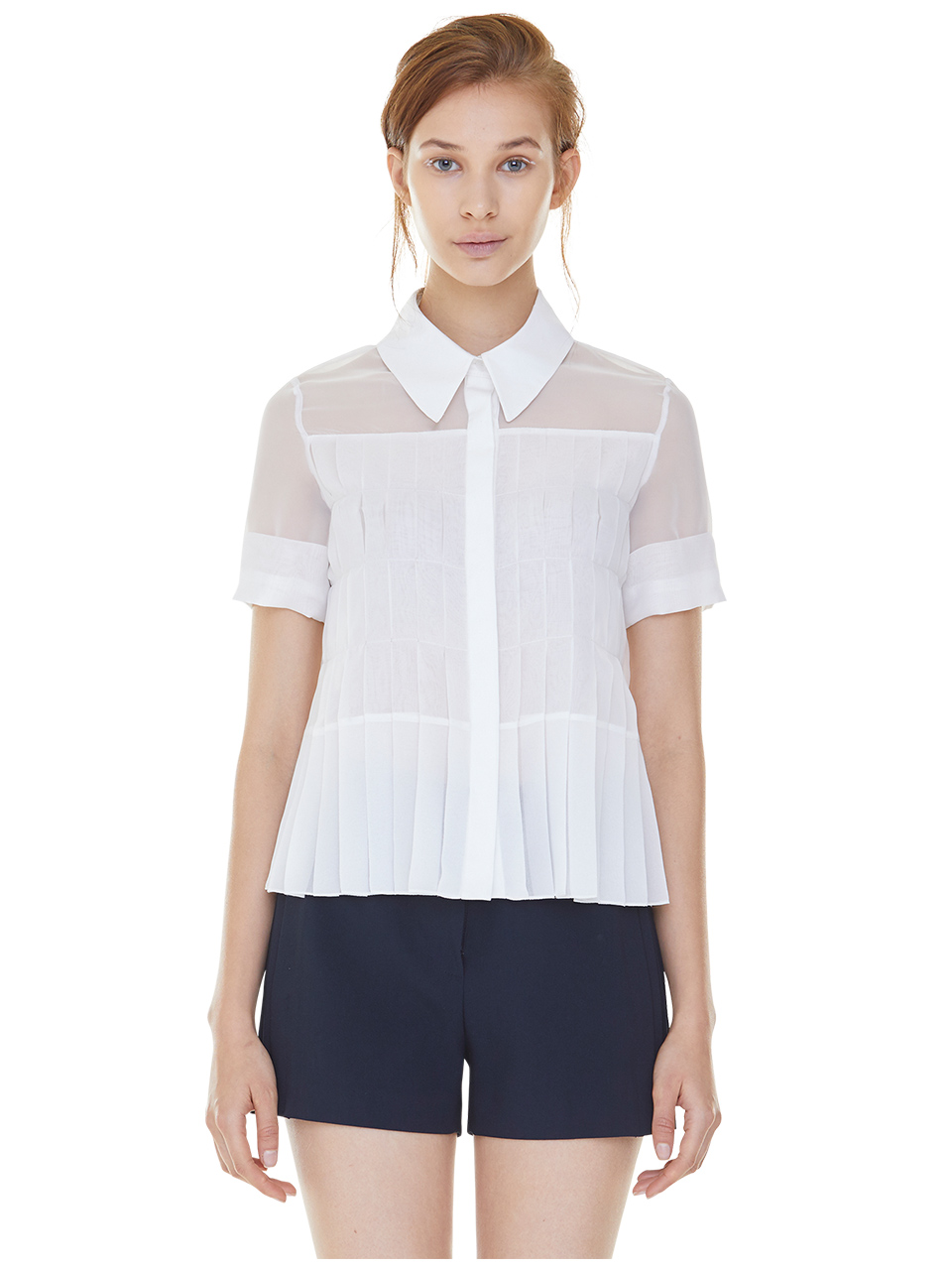 full pleats blouse - white