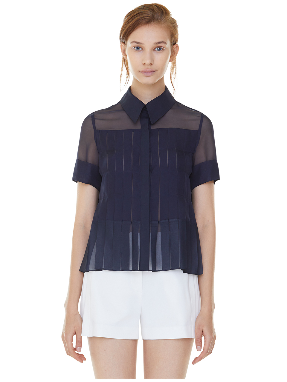 full pleats blouse - navy