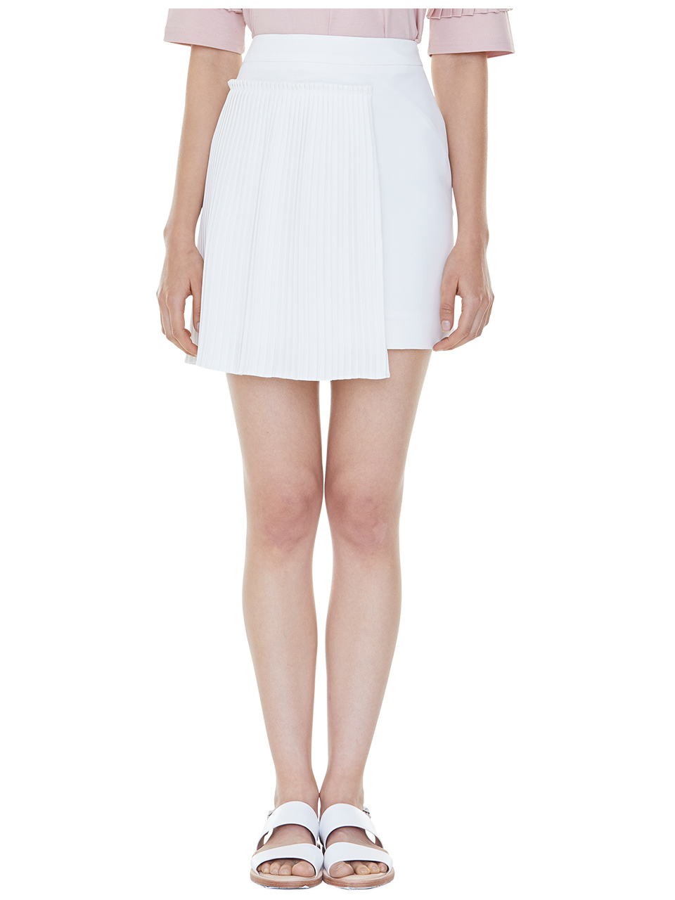 set pleats mini skirt - ivory