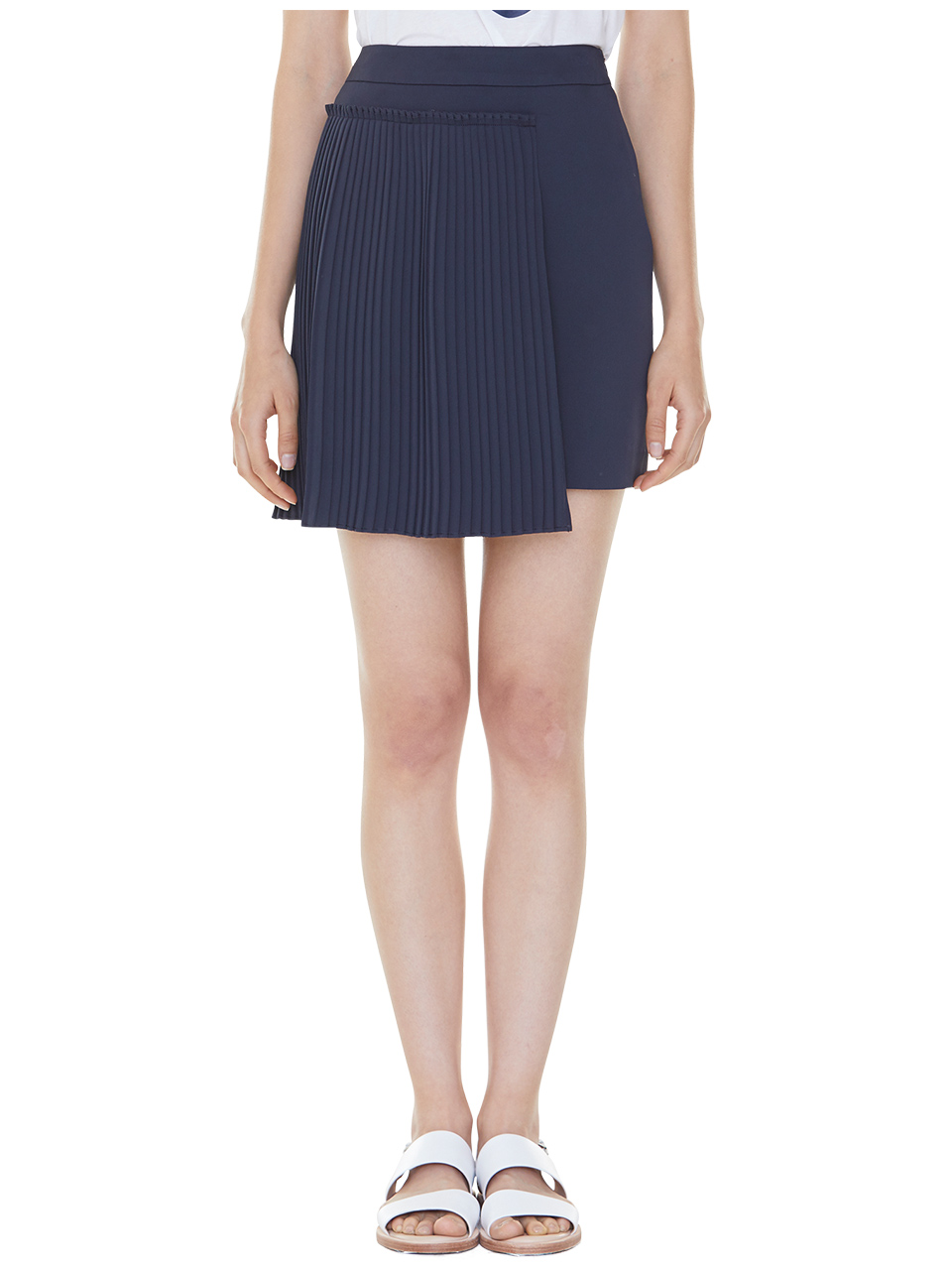 set pleats mini skirt - navy