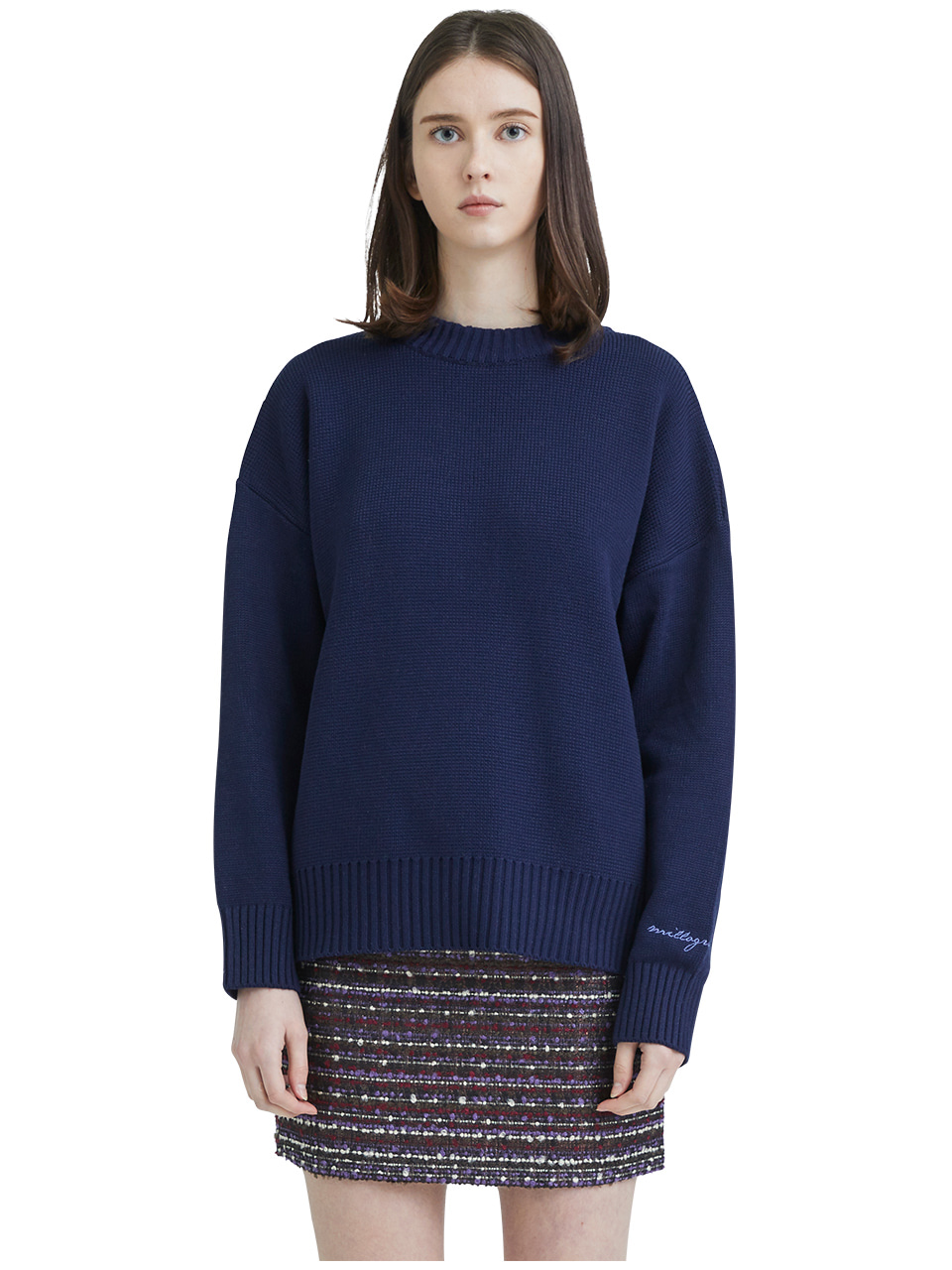 embroideried cuffs sweater - navy