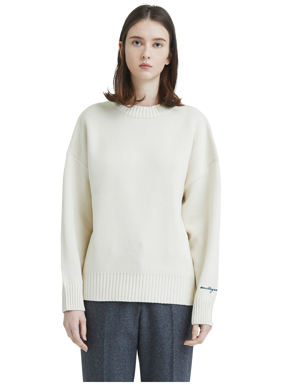 embroideried cuffs sweater - ivory