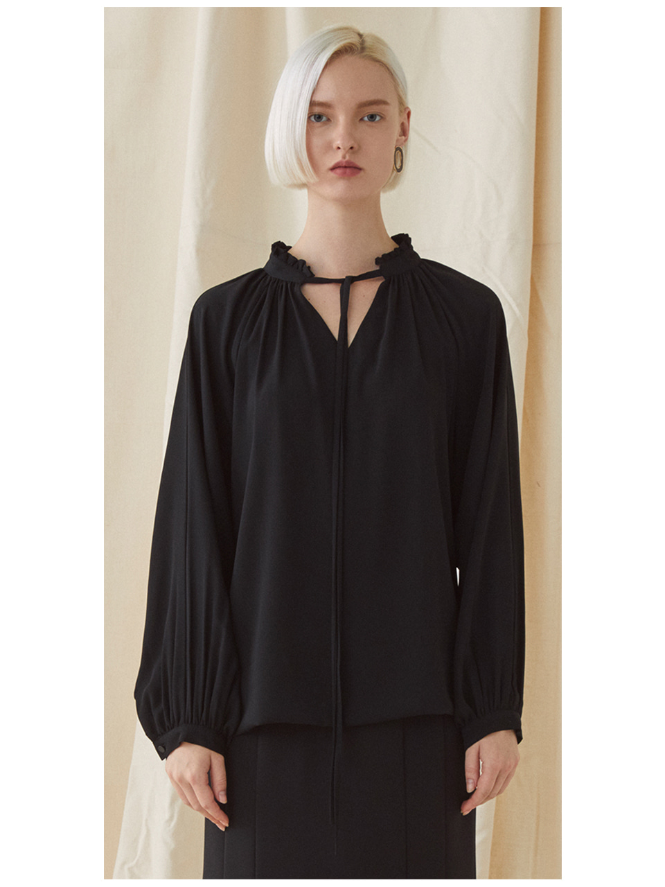 Neck Frill Blouse - black