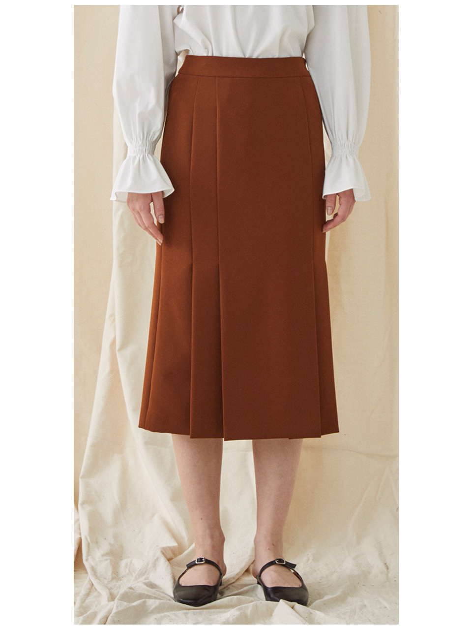 Mermaid Pleated Skirt - red brown