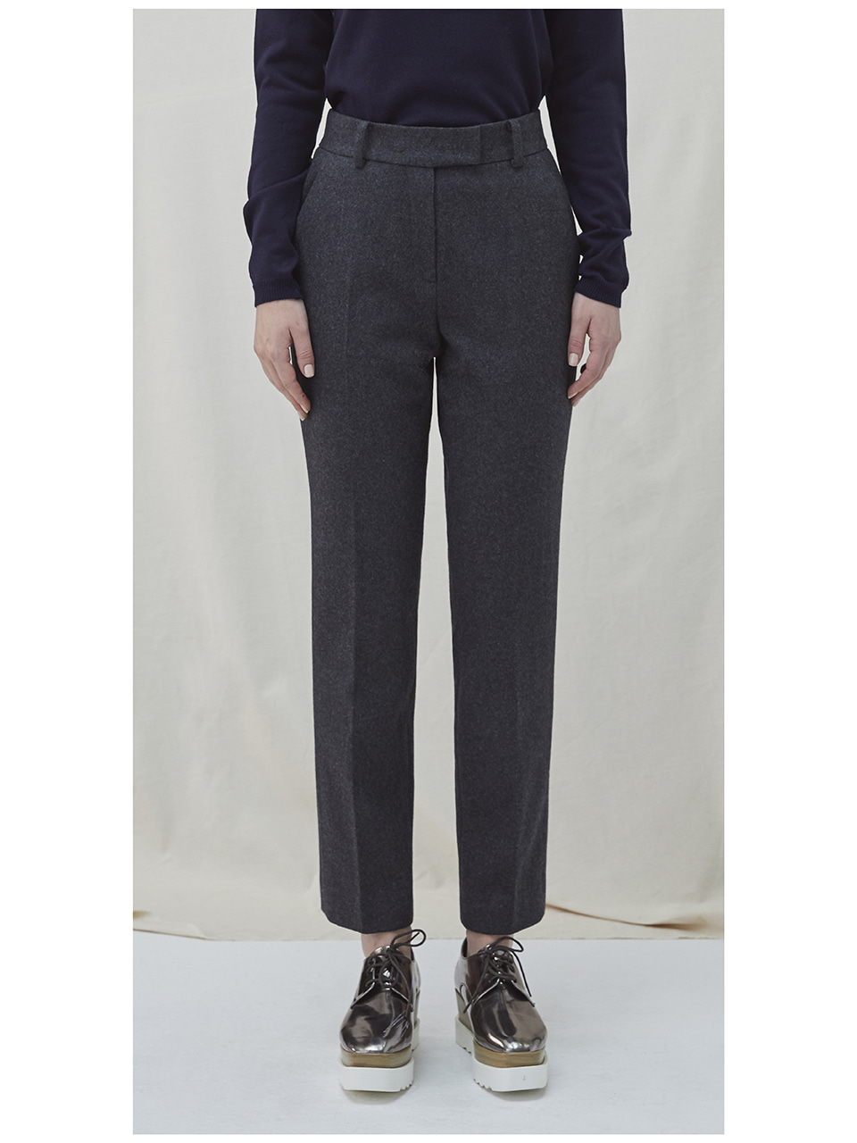 Embroidered Wool Pants - charcoal