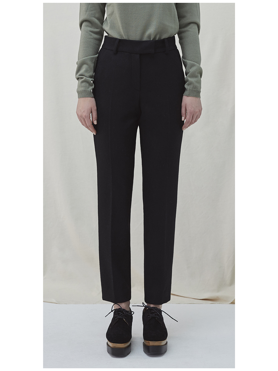 Embroidered Wool Pants - black