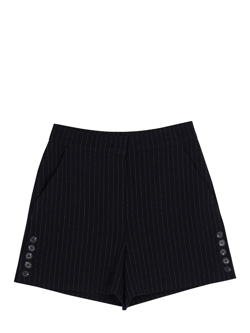 Side Button Pinstriped Shorts - dark navy