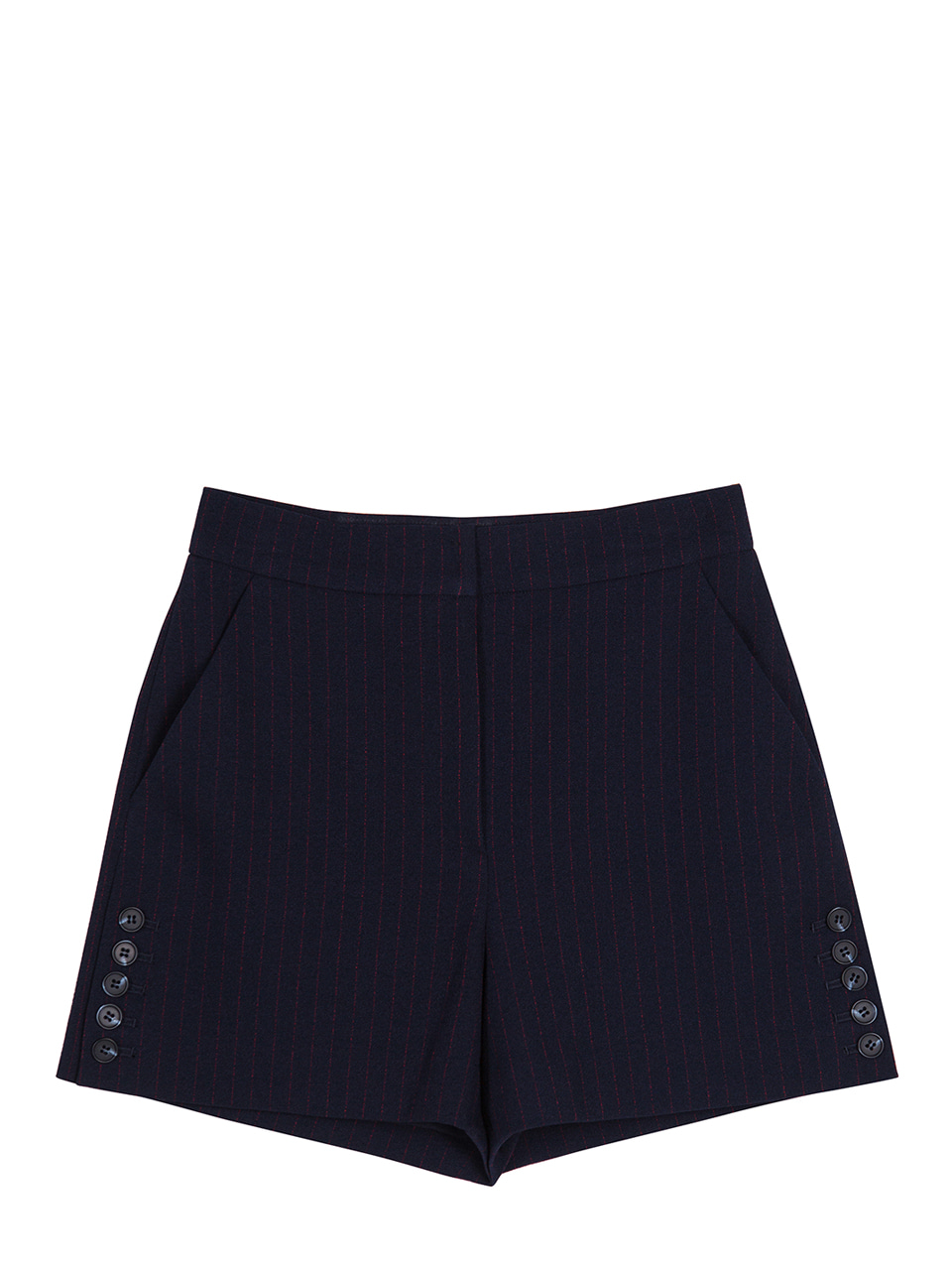 Side Button Pinstriped Shorts - navy+red
