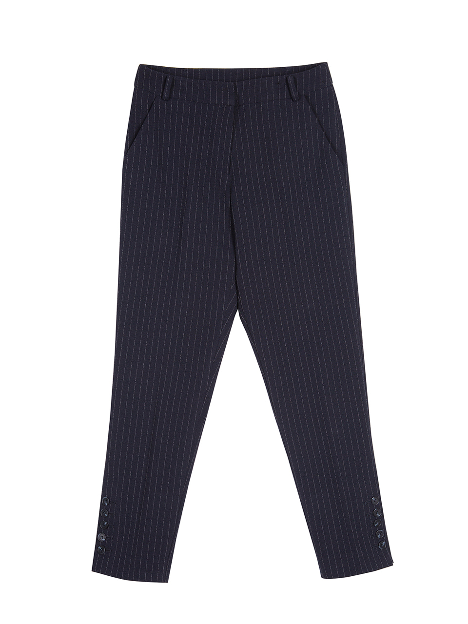 Side Button Pinstriped Pants - dark navy