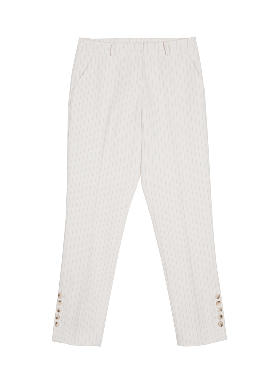 Side Button Pinstriped Pants- ivory