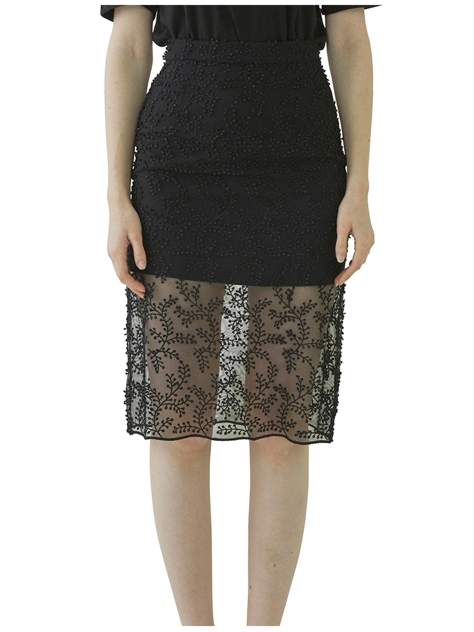 Bell Laced Long Skirt - black